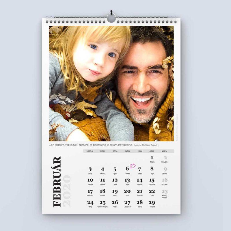 Nástenný kalendár šablóna 24 - február